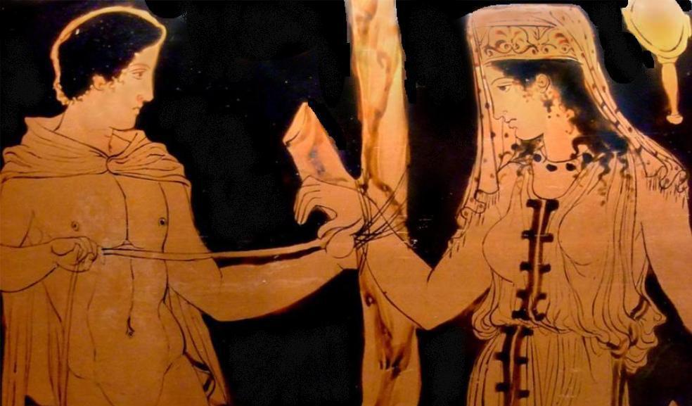 Vasenbild mit einem Hochzeitspaar, dass sich zeremoniell die Hände zusammenbindet